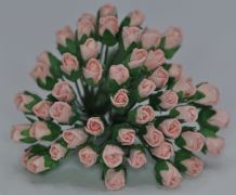 4mm PEACH PINK ROSE BUDS Mulberry Paper Flowers
